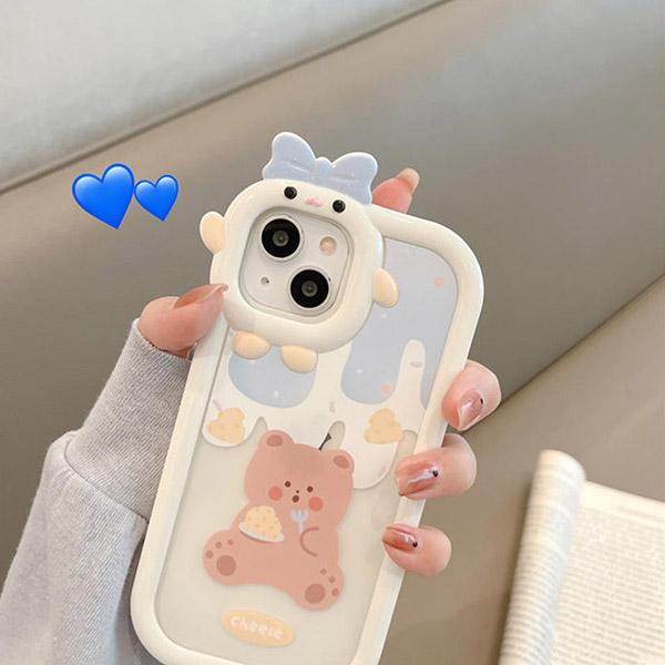 Cartoon Bear Bunny Pattern iPhone 11 XS 7 8 SE2 Plus Case IPS502_3
