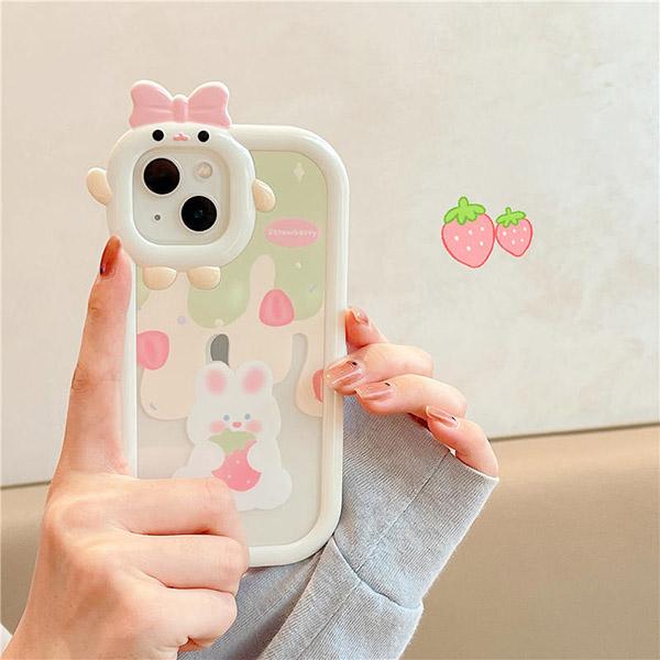 Cartoon Bear Bunny Pattern iPhone 11 XS 7 8 SE2 Plus Case IPS502_4