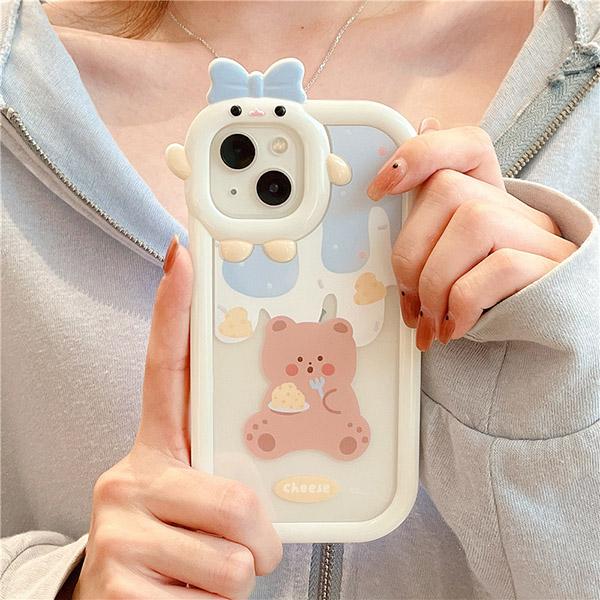 Cartoon Bear Bunny Pattern iPhone 11 XS 7 8 SE2 Plus Case IPS502_5