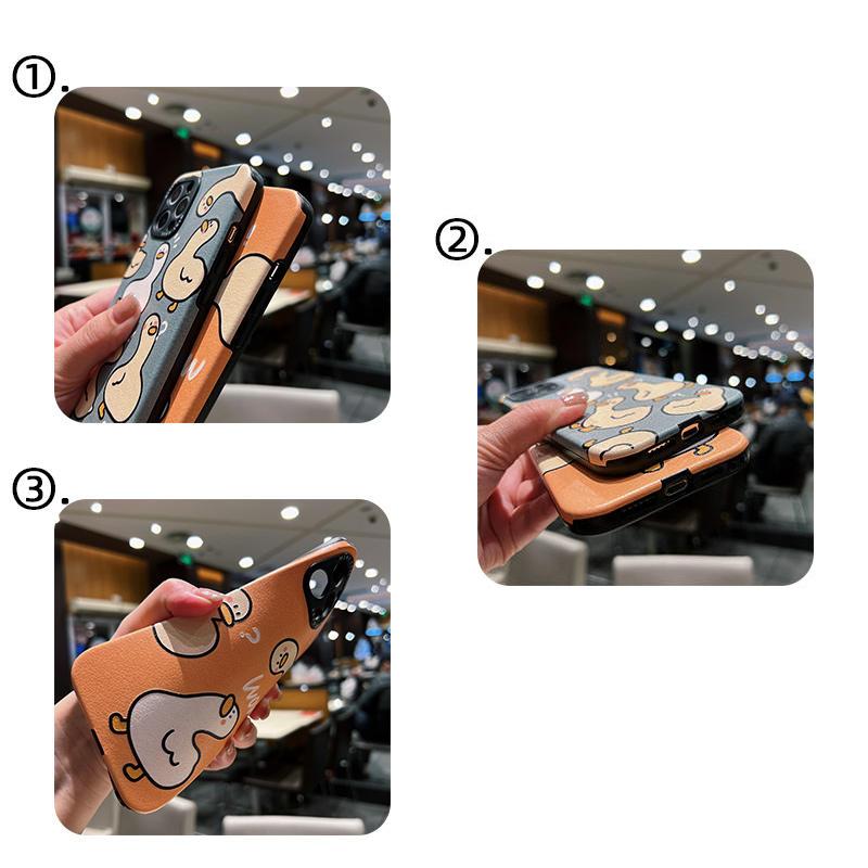Cute Cartoon Duck Pattern Case For iPhone 12 11 XS 8 7 IPS607_5