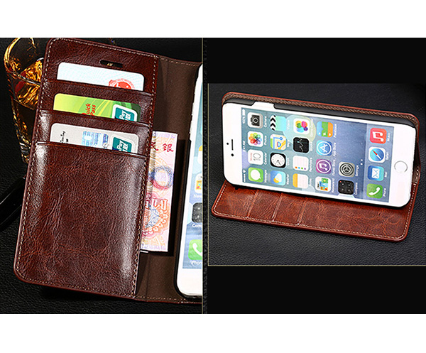 Cool Protective Leather iPhone 6 7 8 Plus Case With Card Slot IPS608_5