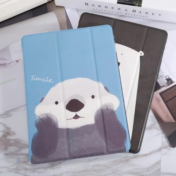 White Bear Sea Otter Pattern Cover For iPad Mini Air Pro New iPad IPCC06_3