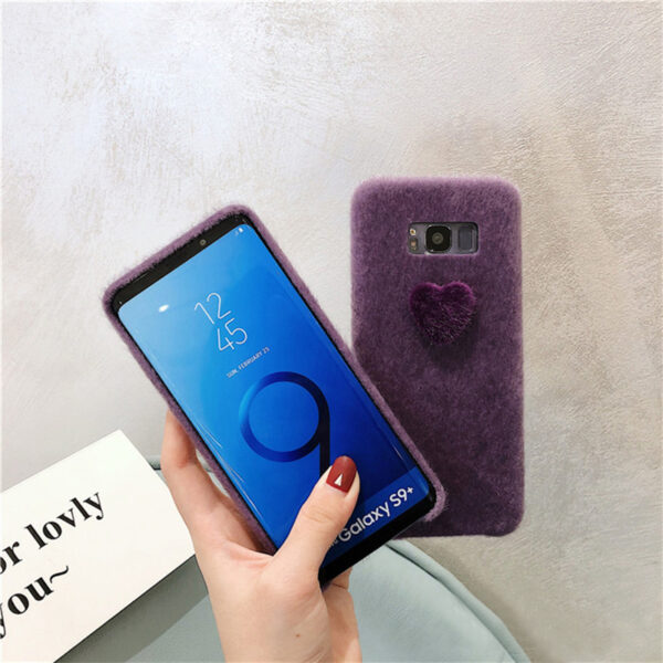 Purple Plush Case With Heart Shape For Samsung S9 8 Note 10 9 8 SGS07_5