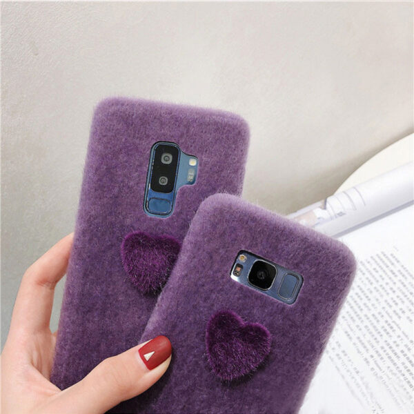 Purple Plush Case With Heart Shape For Samsung S9 8 Note 10 9 8 SGS07_6