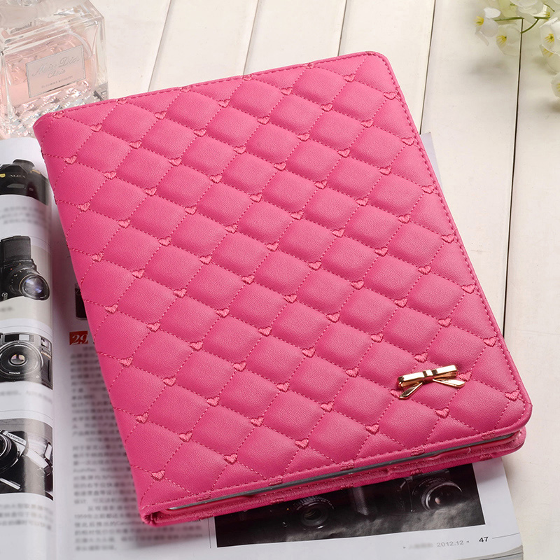 Pink Imitation Leather iPad Mini 3/2/1 Cases And Covers With Nice Bow IPMC307