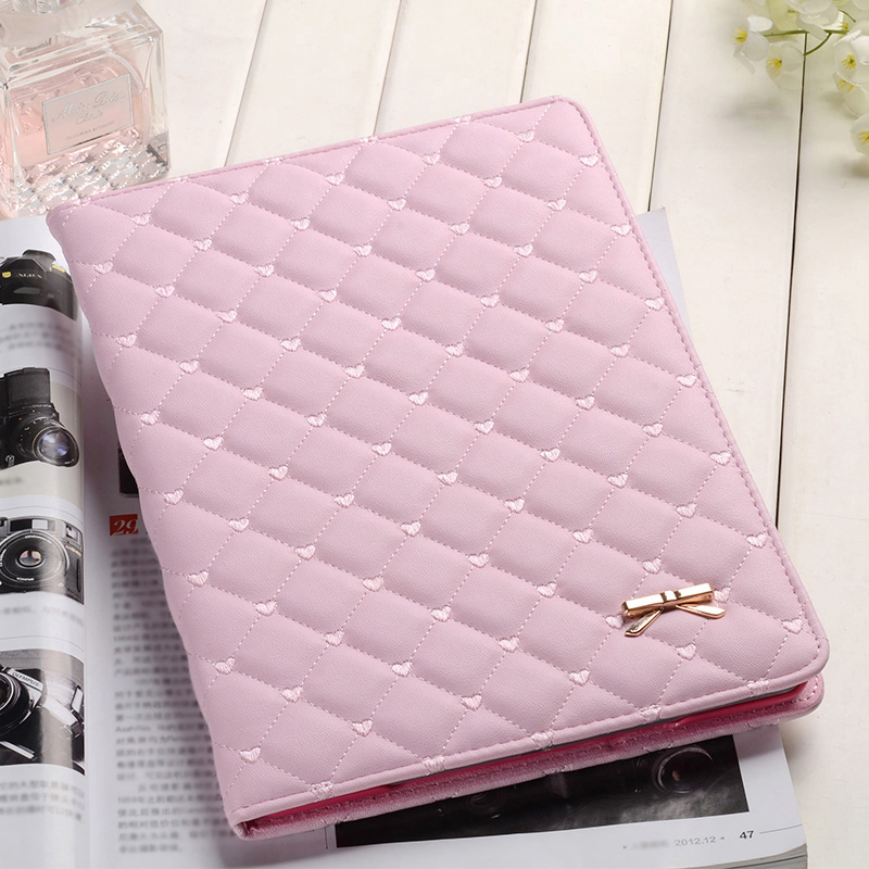 Pink Imitation Leather iPad Mini 3/2/1 Cases And Covers With Nice Bow IPMC307_4