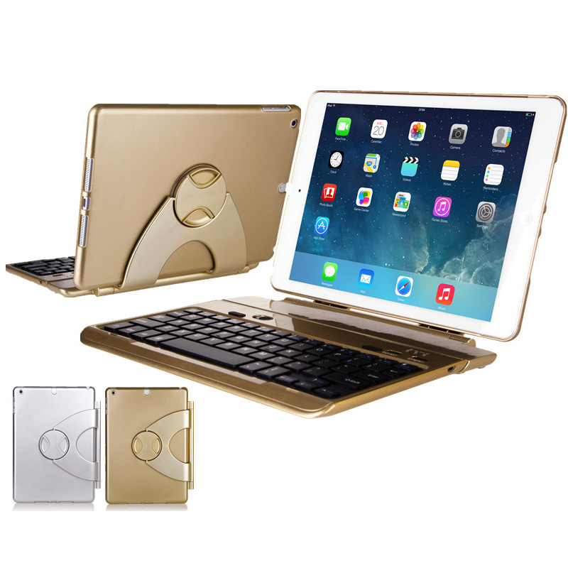 Best 360 Degree Rotation Removable Gold iPad Air 2 Keyboard IPK06
