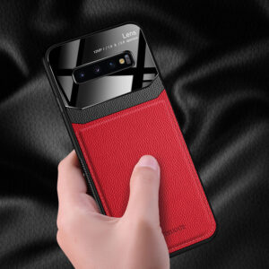 Glass Mirror With Leather Case For Samsung S9 8 Plus SG614