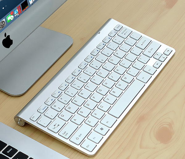 Cheap Silver Mac PC Wireless Keyboard USB Receiver IPK07