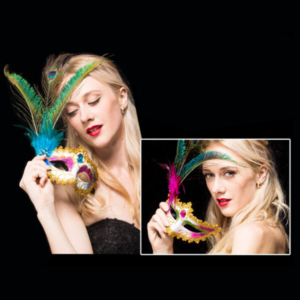 Female Halloween Party Mask With Peacock Feather DMS03_2