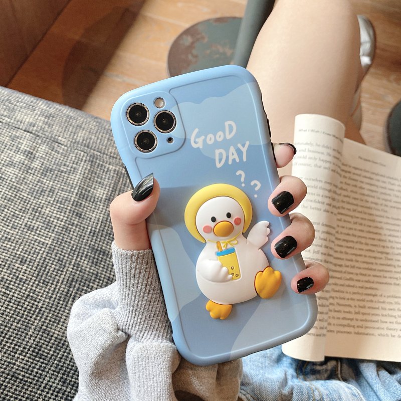 Cute Three-dimensional Duck Pattern Case For iPhone 12 11 XS Max IPS627_2