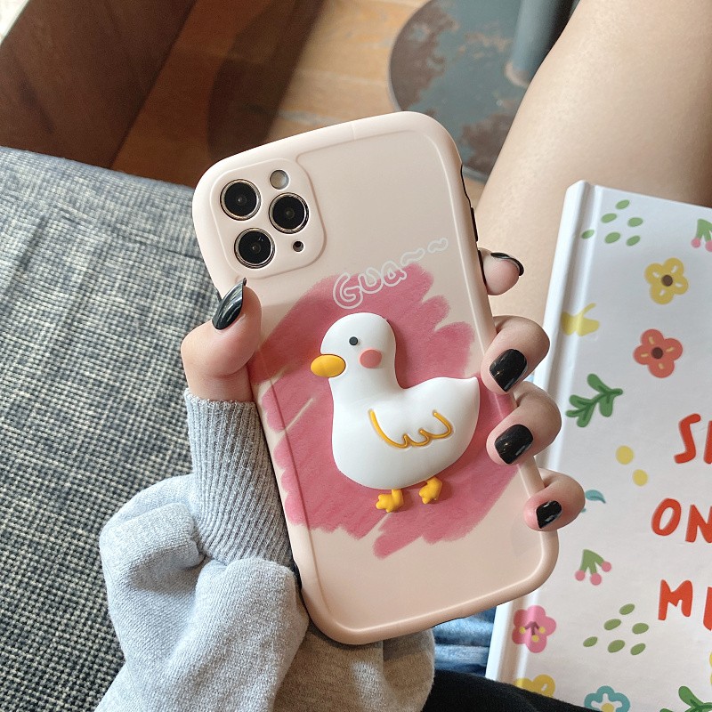 Cute Three-dimensional Duck Pattern Case For iPhone 12 11 XS Max IPS627_3