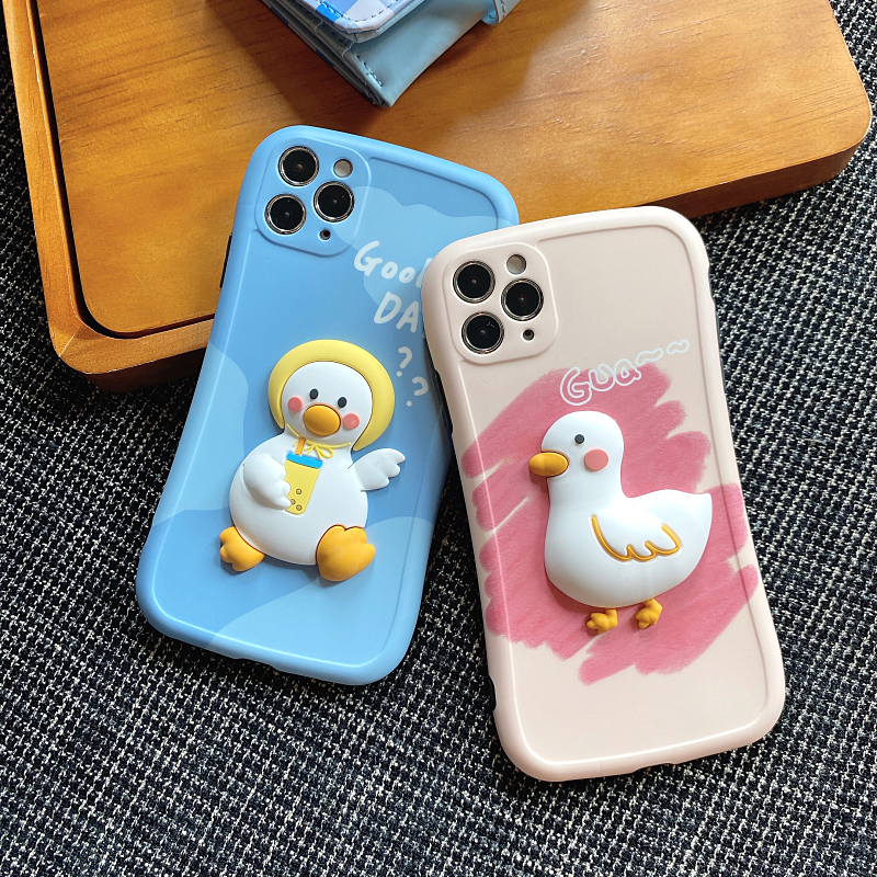 Cute Three-dimensional Duck Pattern Case For iPhone 12 11 XS Max IPS627_4
