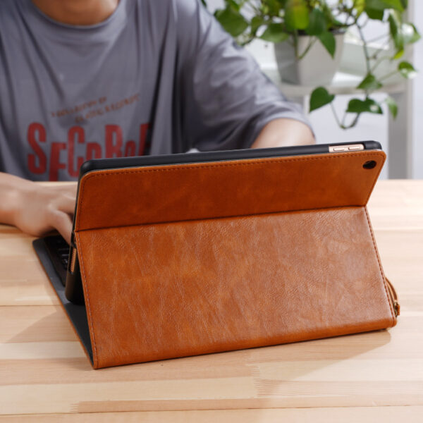 Perfect Leather Brown iPad Pro Air New iPad Keyboard Cover Case IPPK02_5