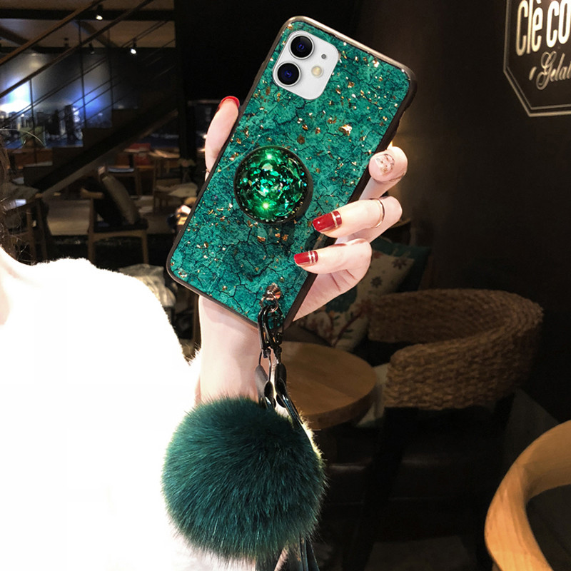 Luxury Rhinestone Silicone Case With Lanyard Stand For iPhone 6 7 Plus X XR XS Max IP6S09_2