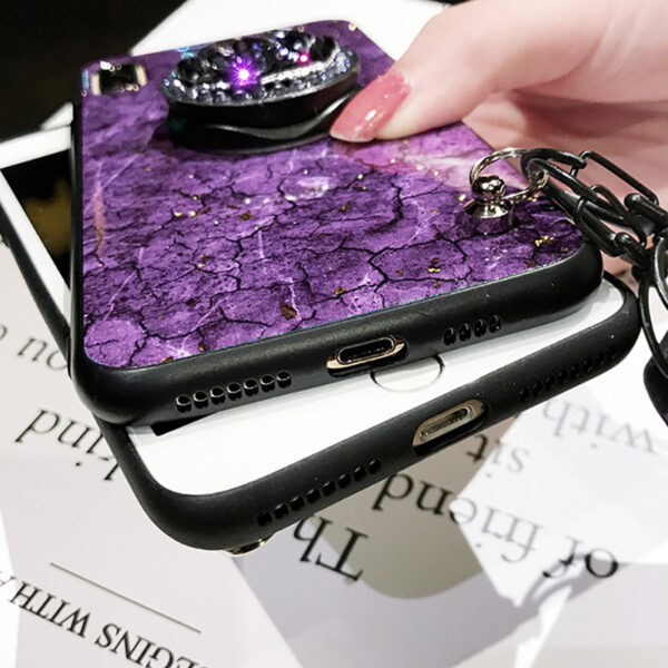 Luxury Rhinestone Silicone Case With Lanyard Stand For iPhone 6 7 Plus X XR XS Max IP6S09_6