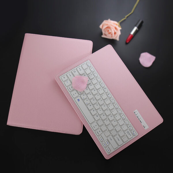 Leather Pink Bluetooth iPad Air Mini Pro Separate Keyboard With Case IPCK05
