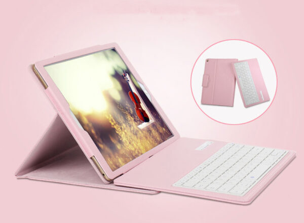 Leather Pink Bluetooth iPad Air Mini Pro Separate Keyboard With Case IPCK05_4