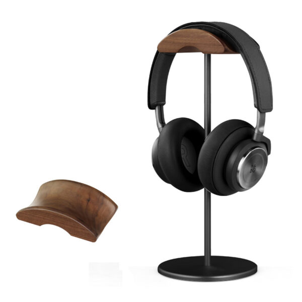 Universal Aluminum Alloy Headphone Holder Stand With Wood Hanger BTE05_2