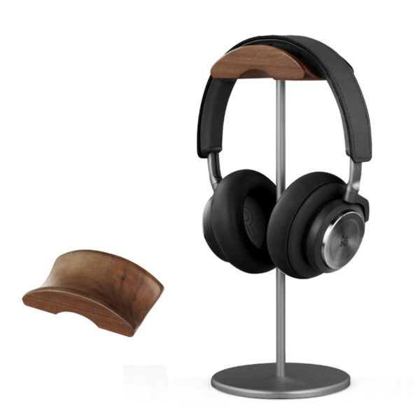 Universal Aluminum Alloy Headphone Holder Stand With Wood Hanger BTE05_3