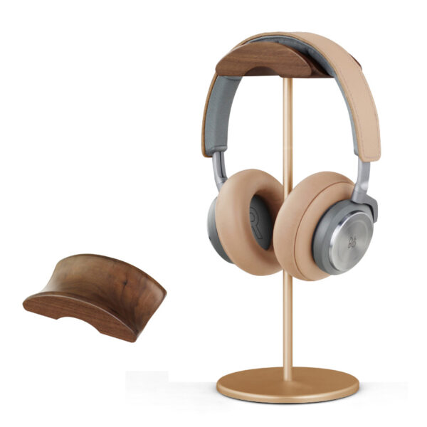 Universal Aluminum Alloy Headphone Holder Stand With Wood Hanger BTE05_4