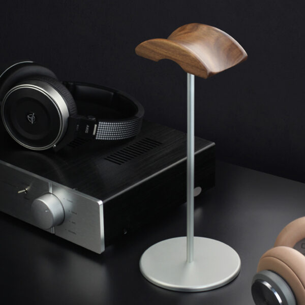 Universal Aluminum Alloy Headphone Holder Stand With Wood Hanger BTE05_6