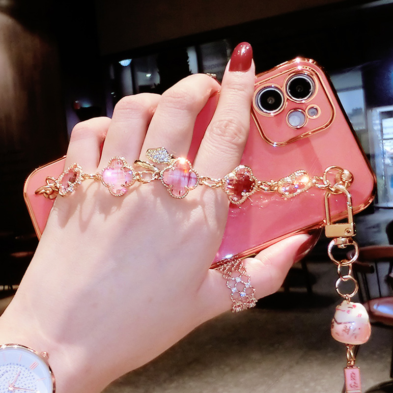 new product 38aa1 ee8dd Perfect Diamond iPhone 8 7 6 6S Plus Case With Heart-shaped buckle And  Lanyard IP6S13