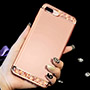 Rose Gold iPhone 8 7 And Plus Diamond Metal Protective Cases Covers IPS704