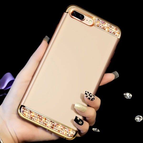Rose Gold iPhone 8 7 6 And Plus Diamond Metal Protective Cases Covers IPS704_3