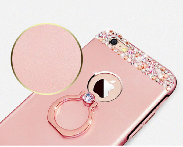 Rose Gold iPhone 8 7 6 And Plus Diamond Metal Protective Cases Covers IPS704_4