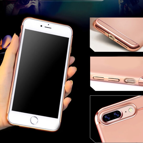 Rose Gold iPhone 8 7 6 And Plus Diamond Metal Protective Cases Covers IPS704_5