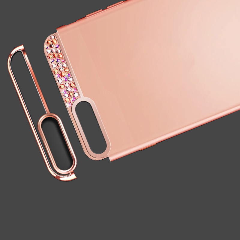 Rose Gold iPhone 8 7 6 And Plus Diamond Metal Protective Cases Covers IPS704_6