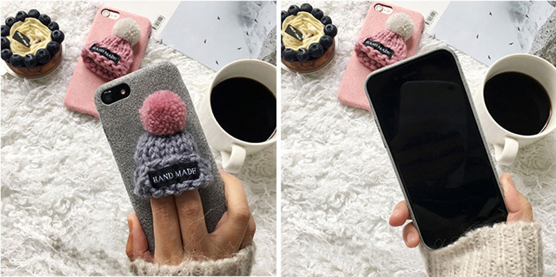 Handmade Wool Hat iPhone 7 6 6S Plus Soft Case Covers IPS708_7