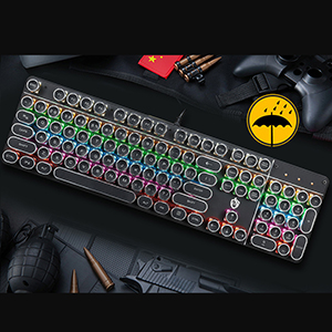 Punk Style Mechanical Keyboard With Retro Typewriter Round Keycap PKB06