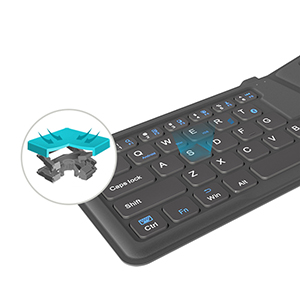 Wireless Bluetooth Foldable Silicone Keyboard For iPad PC Phone PKB05_3