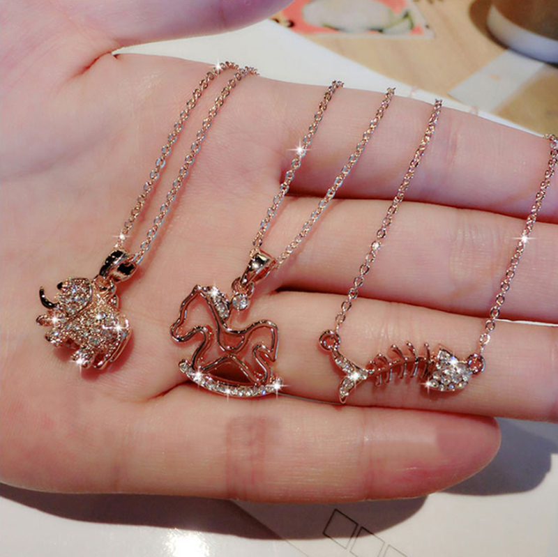 Fashion Elephant Horse Pearl Pattern Pendant Necklaces For Women NLC02_7