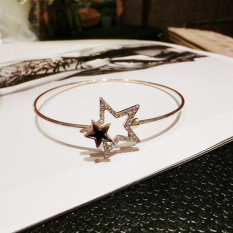 Personality Retro Alloy Two Star Model Bracelet With Diamond NLC06_2