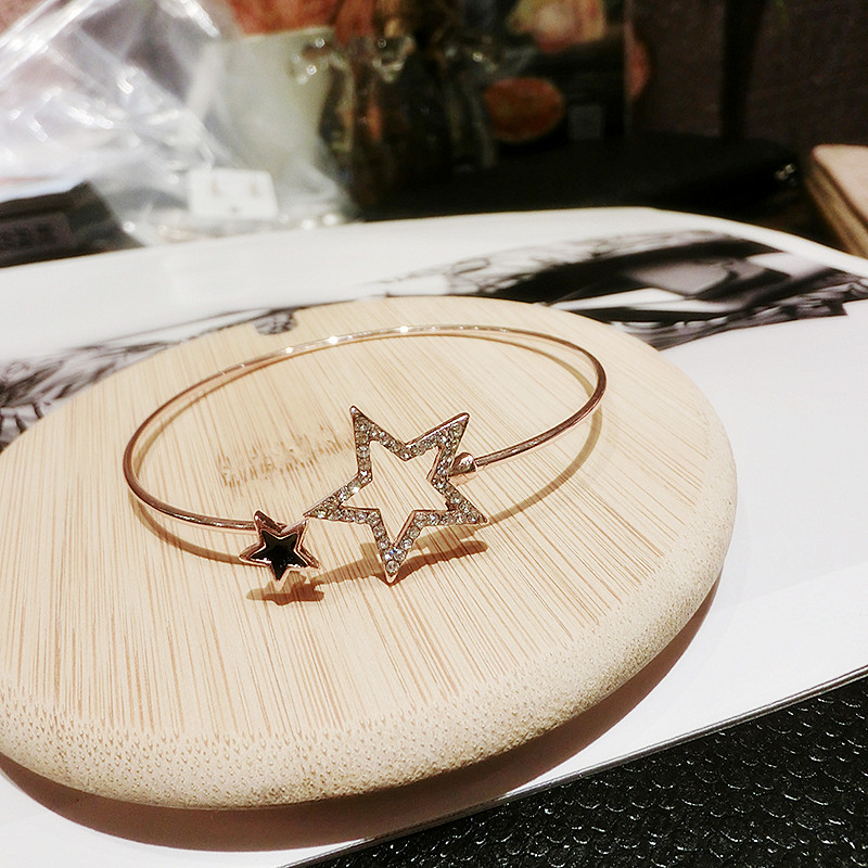 Personality Retro Alloy Two Star Model Bracelet With Diamond NLC06_4
