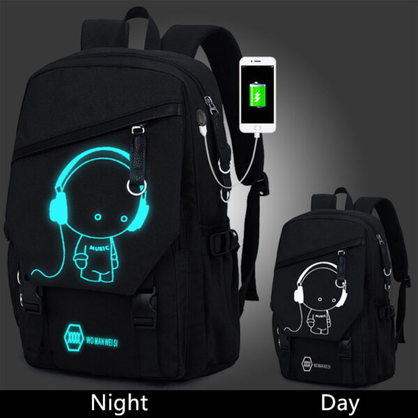 Night Light Pattern With Charge Port Travel Leisure Student Backpack MFB09