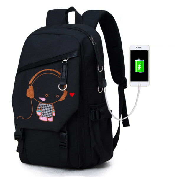 Night Light Pattern With Charge Port Travel Leisure Student Backpack MFB09_3
