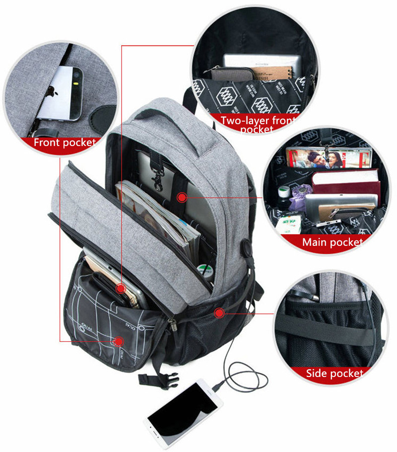 Solar Charge Backpack For Phone Business Travel Bag MFB08_7