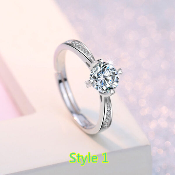 Sterling Silver Ring With Diamond Gift For Girl NLC09