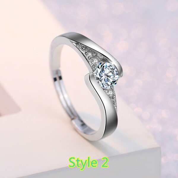 Sterling Silver Ring With Diamond Gift For Girl NLC09_2