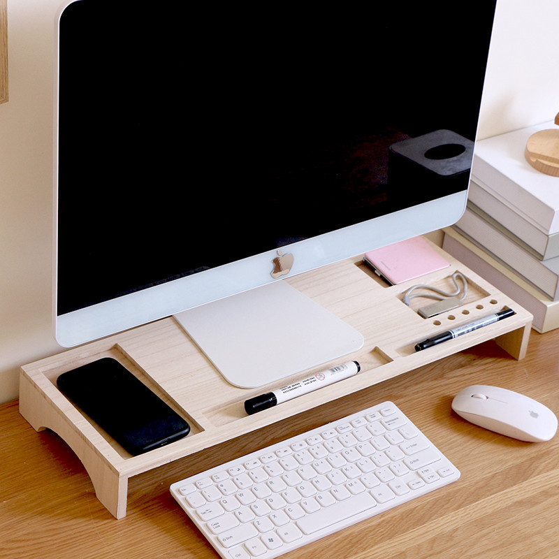 Notebook Increase Height Wood Stand Office Desk Storage Box MDO02_3