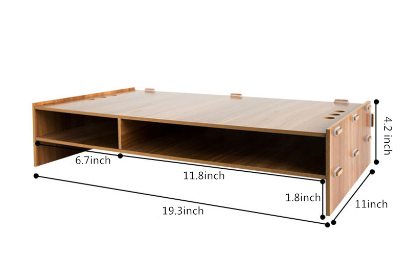 Notebook Increase Height Wood Stand Office Desk Storage Box MDO02_7