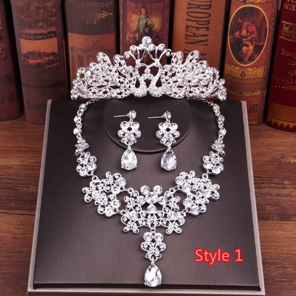 Perfect Necklace Earrings Crown Three Sets For Wedding Bride Jewelry NLC10