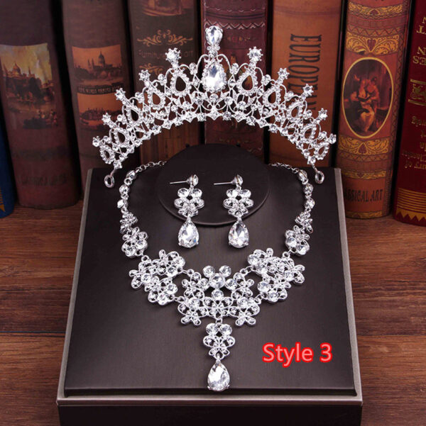Perfect Necklace Earrings Crown Three Sets For Wedding Bride Jewelry NLC10_3