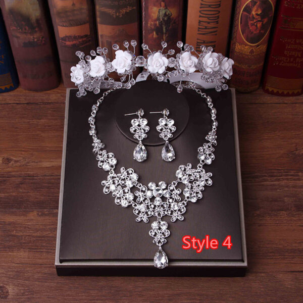 Perfect Necklace Earrings Crown Three Sets For Wedding Bride Jewelry NLC10_4