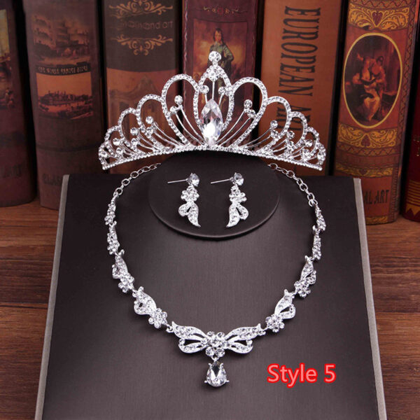 Perfect Necklace Earrings Crown Three Sets For Wedding Bride Jewelry NLC10_5