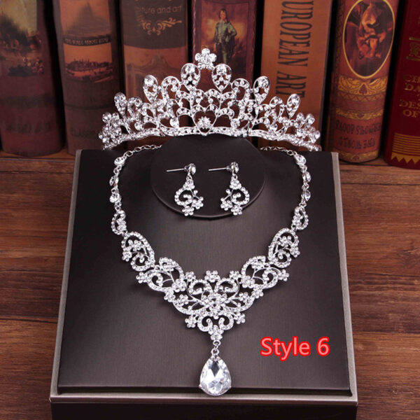 Perfect Necklace Earrings Crown Three Sets For Wedding Bride Jewelry NLC10_6
